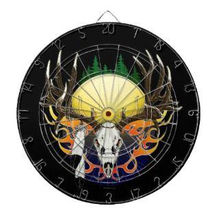 Deer skull in flames dartboard with darts