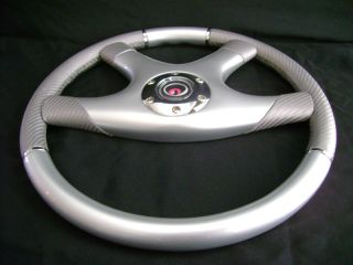 New 15 Carbon Fibre Silver Wood Grain Steering Wheel