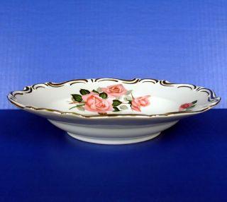 Germany Hertel Jacob Dresden Pink Roses Rim Soup Plate Porcelain Fine