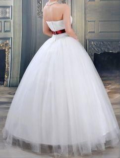 UK Luxury Sash Satin Rhinestones Wedding Dress M WD62