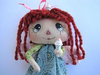 OOAK Primitive Raggedy Ann Littlest Angel Mini Doll Cassie Cupcake