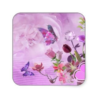 Abstract Colorful Pink Purple Cute Butterfly Square Sticker