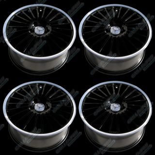 Mercedes Benz Black Machined Lip Wheels 18x8 5 Rims w Central Cap Logo