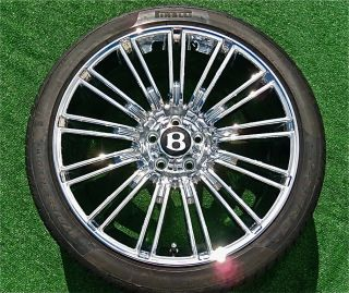 New Chrome Bentley GT Speed 20 inch Wheels Tires Continental Flying