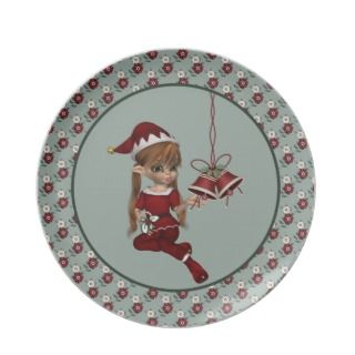Santas Little Helper Elf Green Christmas Plate