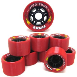 Sure Grip Zoom Red Quad Speed Roller Skate Wheels 8 Count Set