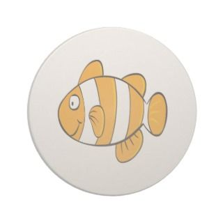 cute happy little clown fish cartoon character drink coaster