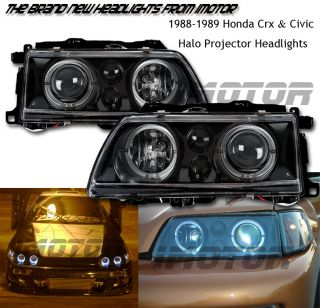 88 89 Honda Civic/CRX Angel Twin Halo Projector Black BLK Headlights
