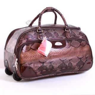 Suitcase Luggage Travel Bag Wheels Snake Skin Holdall