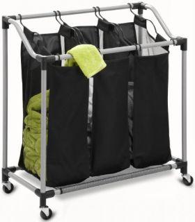 Do Triple Laundry Sorter Steel Black Bin Basket Wheels Clothes Mesh