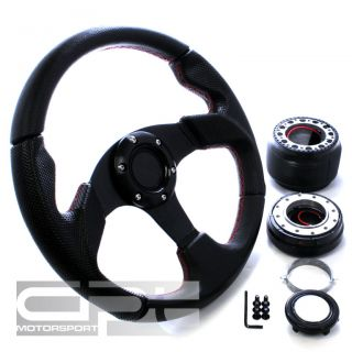 320MM 6 HOLE BLACK STEERING WHEEL RED STITCHING+QUICK RELEASE+OH90 HUB