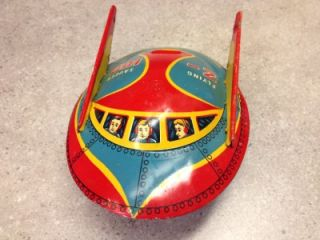 Vtg Modern Toys Japan Flying Saucer Z 106 Pressed Tin Steel Litho Toy