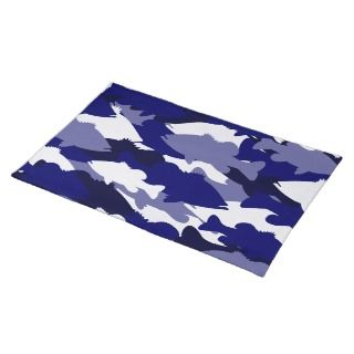 Blue Camo Bass Fishing Placemats