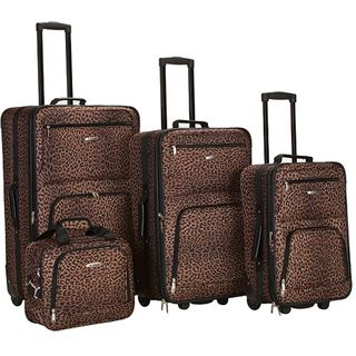 Travel Leopard Print 4 Piece Expandable Luggage Set Suitcases