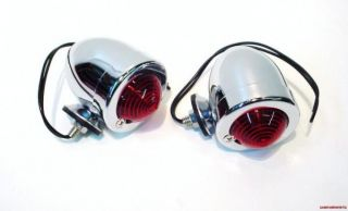 12 Volt Red Dual Filament Chrome Bullet Lights Pair for Harley