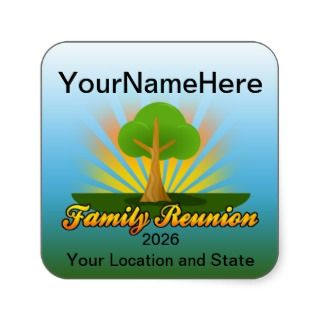 Custom Family Reunion, Green Tree with Sun Rays Square Sticker
