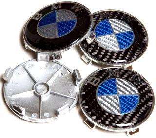 BMW Full Blue Carbon Fiber Wheel Center Caps Emblem E90 E60 E46 E39