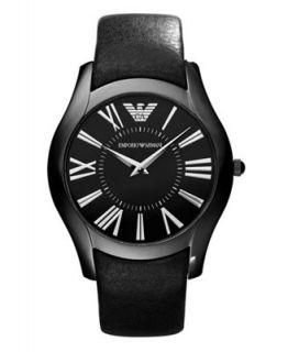 Emporio Armani Watch, Mens Black Leather Strap AR2059