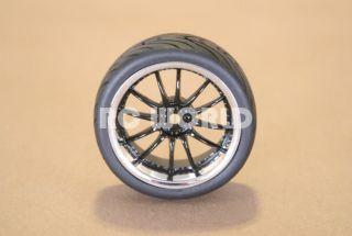 Tires Black Chrome Lip Wheels Rims Package Kyosho Tamiya HPI