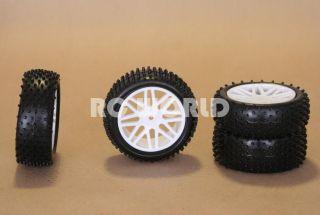 RC 1 10 Buggy Rims Tires Wheels Kyosho Tamiya Narrow Spike