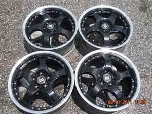 17 Motegi Black 5 Spoke Wheel Set 5 Lug 108mm LKQ