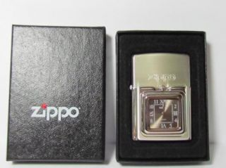 Clock Zippo Lighter Japan Box Has Wear RARE Item Vtg Watch Logo
