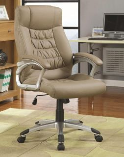 Contemporary Upholstered Beige Vinyl Executive Office Chair by Coaster
