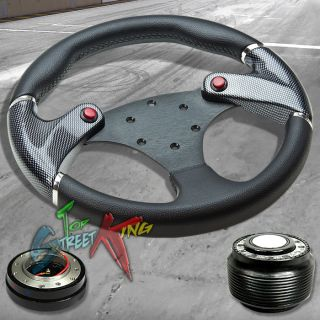 320mm CARBON SIM BLACK RACE STEERING WHEEL+ HUB + QUICK RELEASE ACCORD
