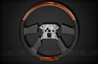 New Factory Style Steering Wheel Oxford Burl w Black Leather