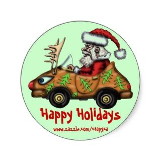 Funny Santa driver on Rudolph car sticker design