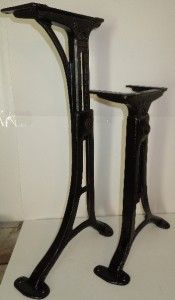 Vintage Machine Age Industrial Adjustable Cast Iron Table Base Legs No