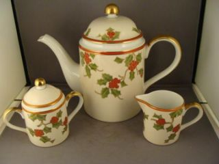 Fitz Floyd Christmas Holly Coffee Set