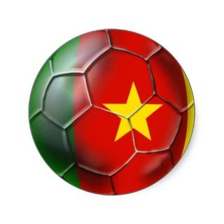 Cameroonian soccer ball flag of Cameroon Round Stickers