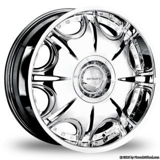 5x135 5x127 Chrome Divinity D14 Wheels Rims 5 Lug 2WD Yukon Tahoe 1500