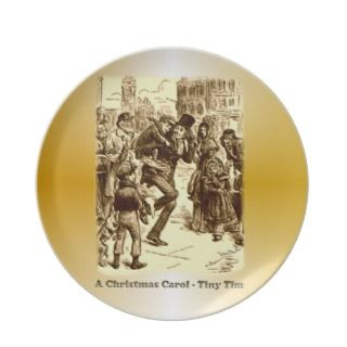 Bob Cratchit and Tiny Tim Christmas Carol Plates