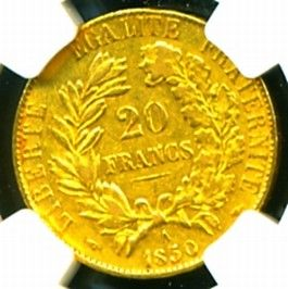 1850 A France Ceres Gold Coin 20 Francs NGC Certif Genuine Graded Gem