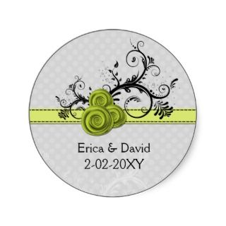 rose green envelope seals round stickers