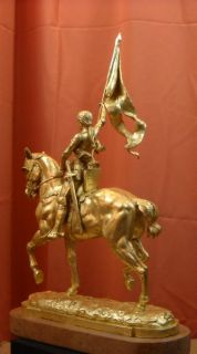 Joan of Arc Equestrian Gold Leaf Bronze Sculpture Fremiet Charles