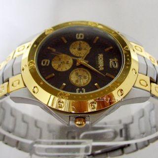 Mens Gold Stainless Steel Black Dial Quartz Wrist Watch