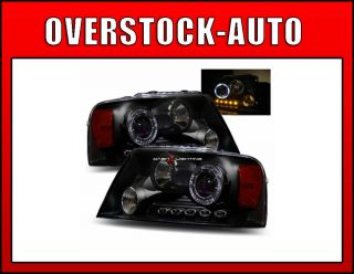 2004 2007 Ford F150 LED Halo Projector Headlights Black