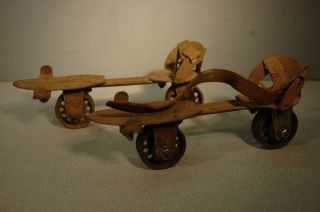 Antique 1900s RARE Cast Iron 2 Wheel Roller Skates