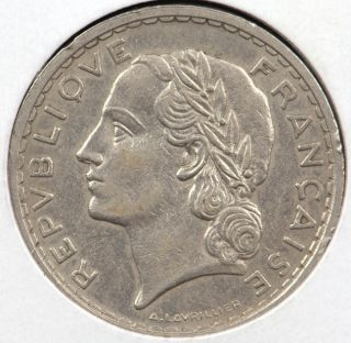 RARE 1937 France 5 Francs Coin Extremely Fine
