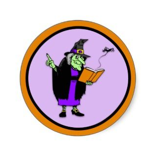 Classic Cartoon Halloween Witch Round Stickers