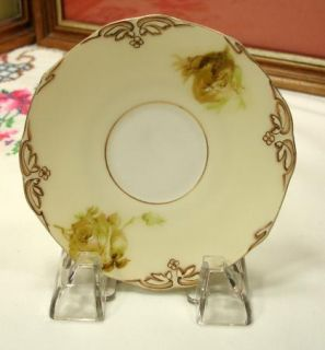 Silesia 4 3 4 Old Ivory Rose Saucer 162 w Signant on Back H 32