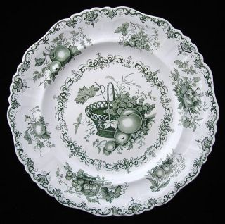 Staffordshire Green Transferware Plate Fruit Basket 1845