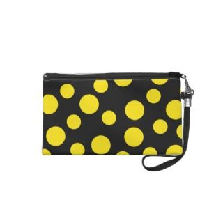 Yellow Polka Dots on Black Wristlet Purse
