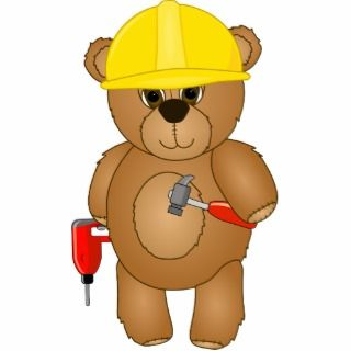 Cute Little Cartoon Teddy Bear Handyman with Tools Photo Cut Outs