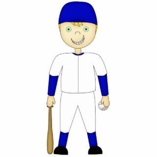 Cute Cartoon Baseball Player Blue & White Uniform Photo Cut Out