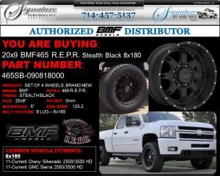 BMF Repr 20x9 Stealth Black Wheels 8x180 2011 2012 Chevy HD GMC HD
