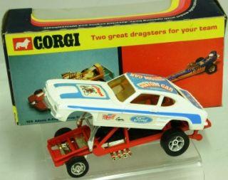 Corgi Toys 163 Whizzwheels Santa Pod Glow Worm Dragster Ford Capri Car